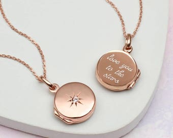 Personalised Rose Gold Star Set Locket (HBN184R / 184R)