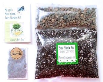 DIY Microgreens Kit - Organic Seeds, Soil Mix and Instructions - You Provide the Planter - Indoor Garden Culinary Gourmet Vegan Gift Kit