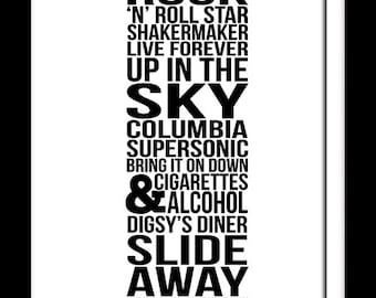 A3 Oasis Album Definitely Maybe song list art print  typography design   ( Print Only )