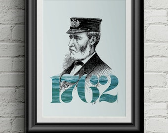 Old Sailor Print, Sailor Art, Nautical Art, Ocean Art, Wall Art, Poster, Typography, Water Poster, Woodcut Style, Victorian Art, Old Sailor
