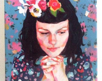Jenny / Tiny canvas print -Portrait painting -Print of Original acrylic painting