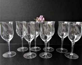 Vintage Crystal Water Goblets 8 Piece Set - Mid Century Etched Wheat Crystal - Elegant Stem - Fine Crystal - Water Glasses - Water Goblets