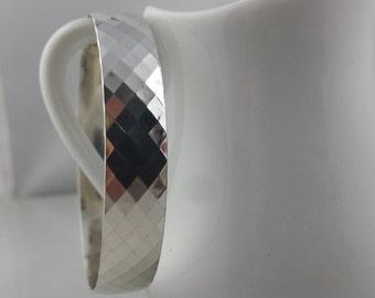 Sterling Silver Wide Bangle Bracelet / 925 stacking Bracelet / Thick Pattern Bangle