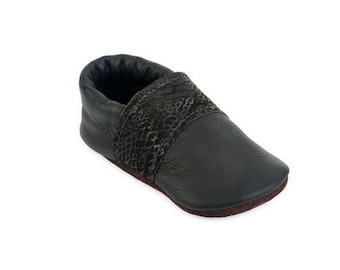 Black Leather Moccasins. Baby Shoes, Eco-friendly Funky Recycled gift infant girl boy