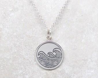 Waves Pendant Necklace - Surfer Necklace - Silver Necklace - Ocean Jewelry - Surfer Jewelry