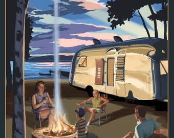 Texas - Retro Camper & Lake - Lantern Press Artwork (Art Print - Multiple Sizes Available)