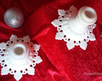 Pair of vintage Westmoreland milk glass ring and petal or snowflake candlesticks - snowflake candleholders