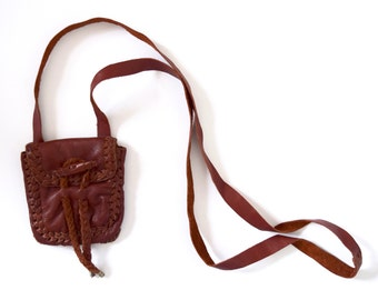 Vintage 70s Whiskey Brown Leather Crossbody Mini Purselette