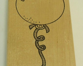 Balloon Wood Mounted Rubber Stamp By Azadi Earles J599 Birthday, Celebration
