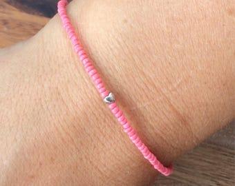 Tiny heart bracelet, dainty bracelet, simple bracelet, silver heart, coral bracelet, friendship bracelet, stacking bracelet, coral dainty