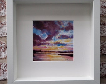 Pastel drawing, Sky 4, print, seascape, skyscape, framed and signed by the Artist