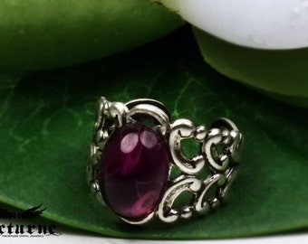 Gothic Ring with Amethyst Purple Color Stone - Silver Plated Ornate Ring - Victorian Gothic Jewelry