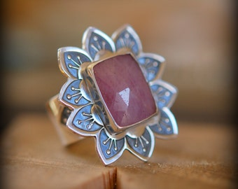 RESERVED FOR MELANIE Pink Sapphire Ring, Lotus Flower Design, Handmade Sterling Silver Statement Ring, Yoga Lover Jewelry, Size 7.5