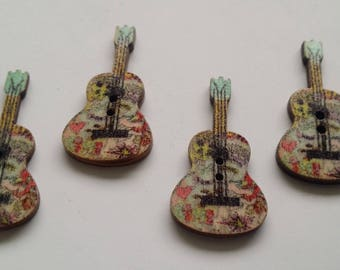 SET 1 - 4 buttons painted wooden guitar