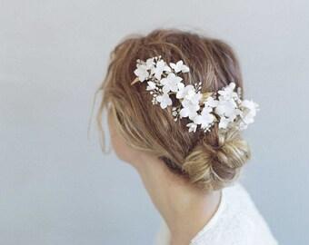 Coiffe de mariée en argile de fleur - fleur de cerisier éclaté casque - Style 776 - réalisé sur commande