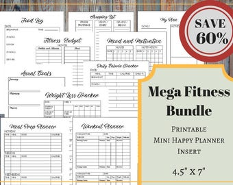 Mega Fitness Bundle For The Mini Happy Planner: Workout Planner, Weight Loss Tracker, Fitness Budget, Meal Prep Planner, Calorie Tracker