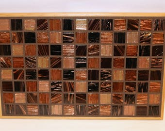 Brown glass tile mosaic trivet