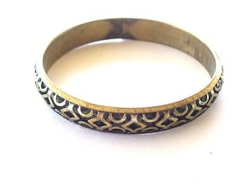 Vintage Brass Bangle, Ornate Brass Bangle Enamel Bracelet, Brass Jewelry, Vintage Bracelet, Brass Bracelet, Modernist Geometric Bangle