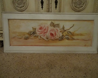 Vintage Shabby Cottage Chic Long Rose Painting
