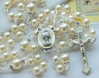 Catholic First Communion Swarovski Cream Pearl Rosary
