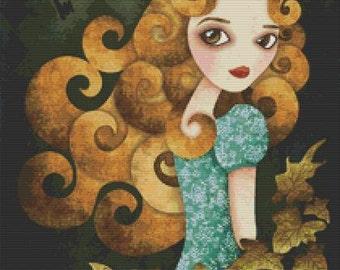 Cross stitch kit,  modern art by Sandra Vargas 'Alice', Alice in Wonderland, Counted cross stitch kit,