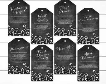 Bridal Shower Wine Bottle Tags, Wine Bottle Poems,  Wine Gift Basket, INSTANT DOWNLOAD