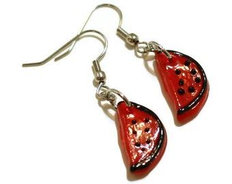 Watermelon Charm Earrings, Black and Red Watermelon Slice Glass Lampwork Beaded Earrings - Cute Womens Earrings