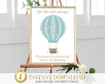 Hot Air Balloon Printable Sign, First Birthday, Up Up and Away Sign, Balloon Birthday, Hot Air Balloon Sign, Baby Shower, INSTANT DOWNLOAD