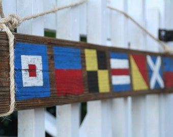 Custom Nautical Flag Sign- Reclaimed Wood Sign- Name with 4 letters- Nautical Wall Decor
