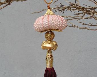 Sea Urchin Ornament - Pink, Burgundy and Gold, Tassel Ornament