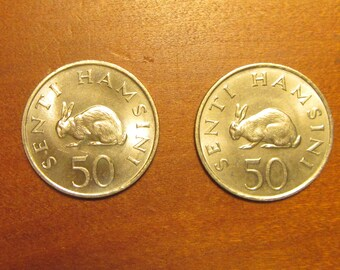 Rabbit 2 Coin Lot, 50 senti coins of 1966, matching pair, tanzania africa,for collectors craft supply jewelry making, hare