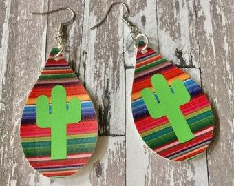 EARRINGS Serape Cactus Faux Leather Dangle Pierced Striped Multi Color Pleather Jewelry