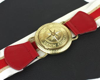 Red White & Gold Polo Denim Company Elastic Belt