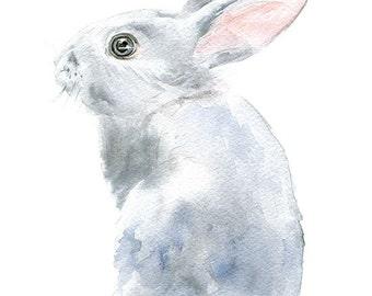Gray Bunny Rabbit Watercolor Painting Bunny - Giclee Print - 5 x 7 - Nursery Art - Woodland Animal