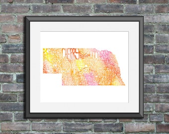Nebraska watercolor typography map art unframed print state poster wedding engagement graduation gift anniversary wall decor lake house
