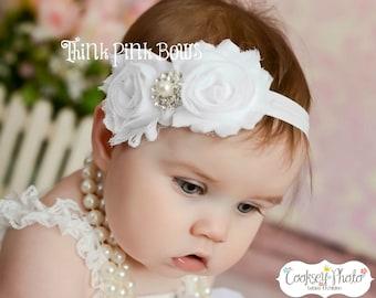 Baby Headband, White Headband,Christening Headband, Baptism Headband,Newborn Headband,Baby girl Headband,Shabby chic Headband,Baby Bows.(3)