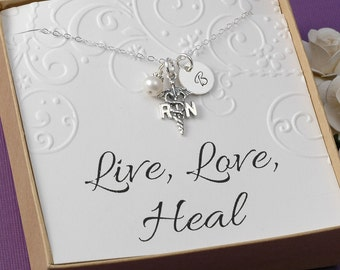 RN Registered Nurse Necklace - Initial Charm and Pearl -  Sterling Silver