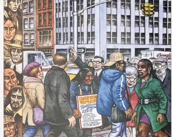 Postcard featuring a famous 'New Yorker' cover - street scene. BIG discount for multiple purchases!!