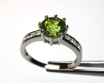 Brilliant Peridot in an Accented Sterling Silver Setting Size 7