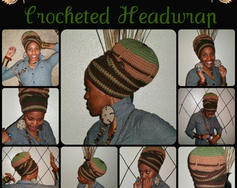 The Earthy Urban Turban Crocheted Head-wrap - MADE TO ORDER - Wrapping Tutorial also provided (Link is Below)