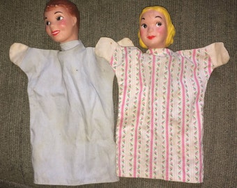 Vintage Handmade  Hand Puppets