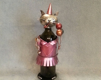 Metal Art Wine Bottle Holder - Cat at a Party Theme - Wine Caddie