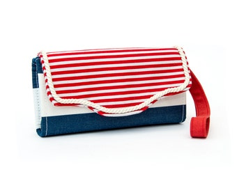 Nautical accordion Wallet, Cotton canvas, 12 cards slots, 2 big zipper pockets, Strap left or right, cross-body strap on request