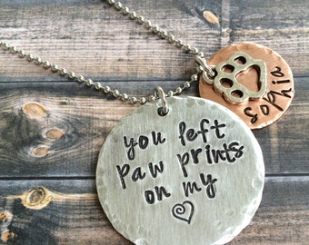 You left paw prints on my heart, dog memorial necklace, dog remembrance necklace, pet memorial necklace, animal memorial necklace