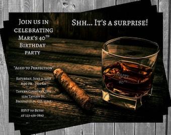 Cigar and Cognac Birthday Invitation / Birthday Invitation / Cigar / Cognac / Brandy / Mens Invitation / 40 / 50 / Adult Birthday Invitation