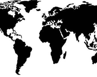 Map - world map - vinyl - wall decal