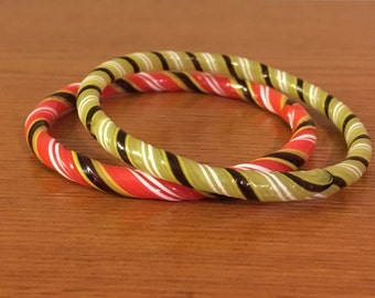 Two Vintage Solid Glass Candy Stripped Bracelets- 1950's Fused Glass Bangles in Red and Green