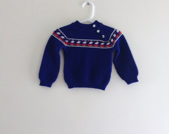 Vintage Danish Sweater - Danish Blue size 3-6 months (estimated)