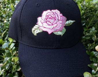 Women's baseball cap, hat, embroidered red rose on black - feminine and pretty!