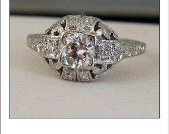 Antique Art Deco Platinum .60 Ct. VS Diamond Tiered Engagement Ring